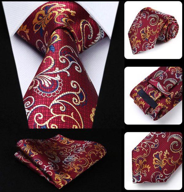 Luxusná kravata a vreckovka - hodvábny set s bordovým vzorom