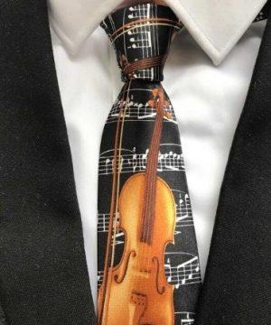 Luxusná pánska kravata s husľami a hudobným motívom