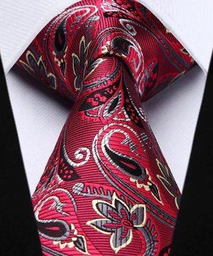 Pánska kravata a vreckovka - hodvábny set s červeným motívom