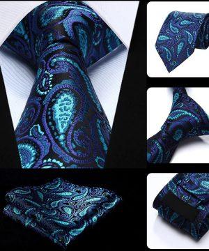 Pánska kravata a vreckovka - hodvábny set s modrým vzorom