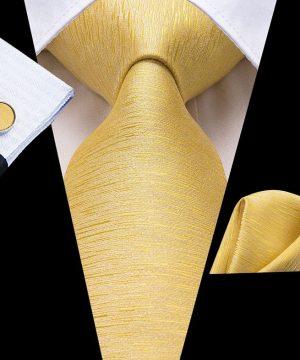 Pánska kravatová sada + manžety + vreckovka v zlatej štruktúre