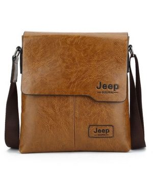 Pánska crossbody kožená taška JEEP cez plece v khaki farbe
