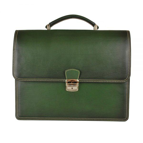 Luxusná kožená aktovka č.8040, ručne tieňovaná v tmavo zelenej farbe