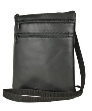 kožená taška cez prsia čierna
