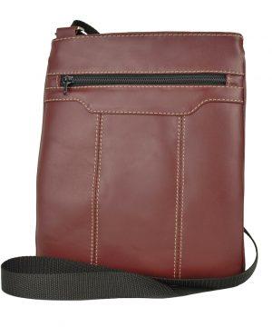Pánska kožená taška s dekoračným prešívaním v bordovej farbe