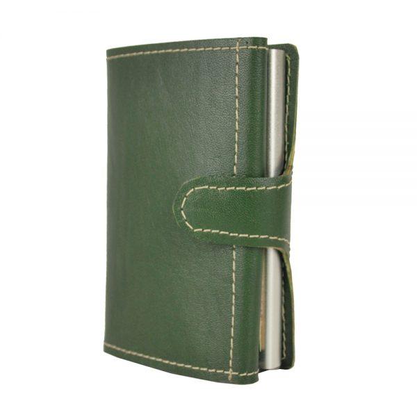 RFID Kožená peňaženka s patentovaným mechanizmom na karty v zelenej farbe