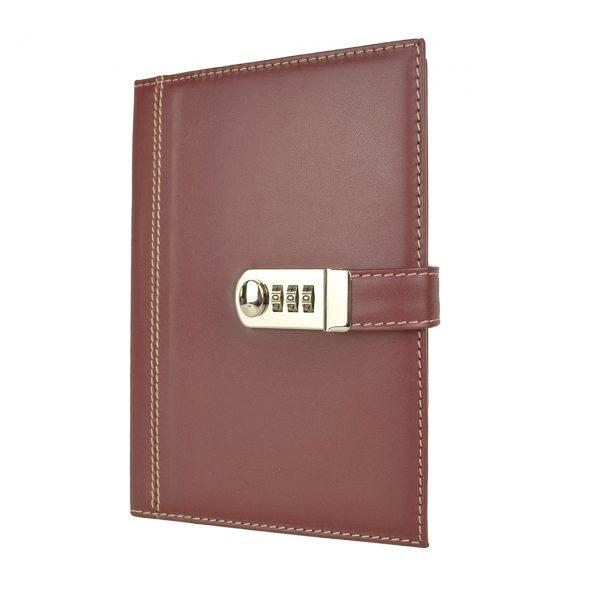 XXL kožený zápisník z prírodnej kože s číselným zámkom v bordovej farbe