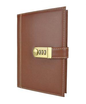 XXL kožený zápisník z prírodnej kože s číselným zámkom v hnedej farbe
