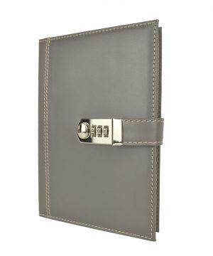 XXL kožený zápisník z prírodnej kože s číselným zámkom v šedej farbe
