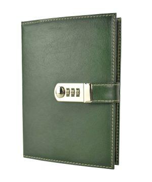XXL zápisník z prírodnej kože na heslový zámok, ručne tieňovaný, zelená farba.