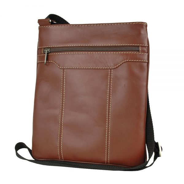 Pánska kožená taška s dekoračným prešívaním v hnedej farbe