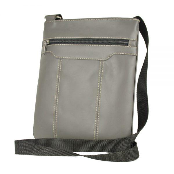 Pánska kožená taška s dekoračným prešívaním v šedej farbe