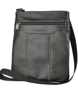 Pánska kožená taška s dekoračným prešívaním v čiernej farbe