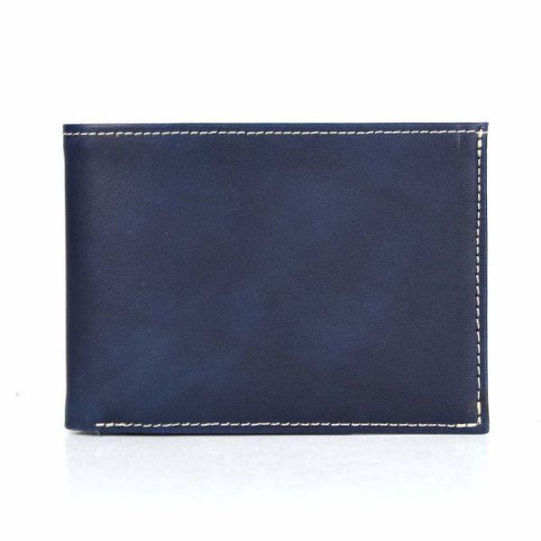 Pánska kožená peňaženka č.8552, ručne tieňovaná v modrej farbe