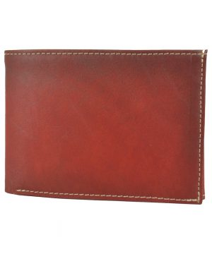 Pánska kožená peňaženka č.8552, ručne tieňovaná v červenej farbe