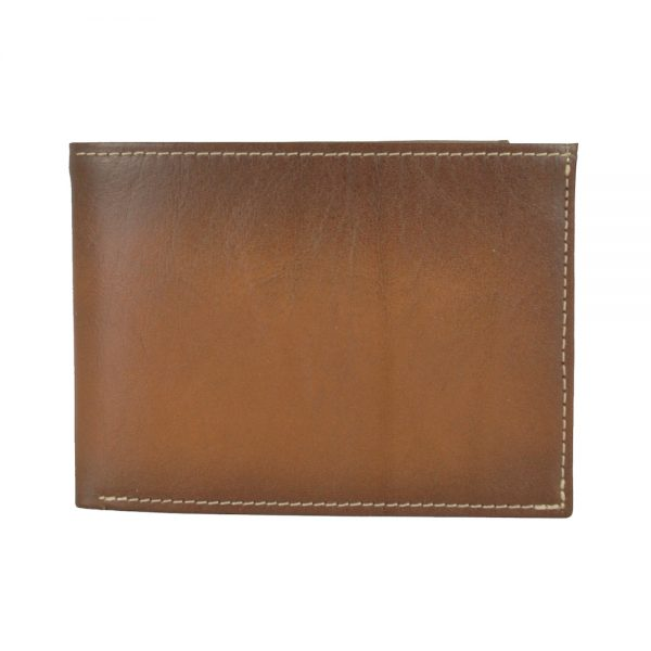Pánska kožená peňaženka č.8552, ručne tieňovaná v hnedej farbe