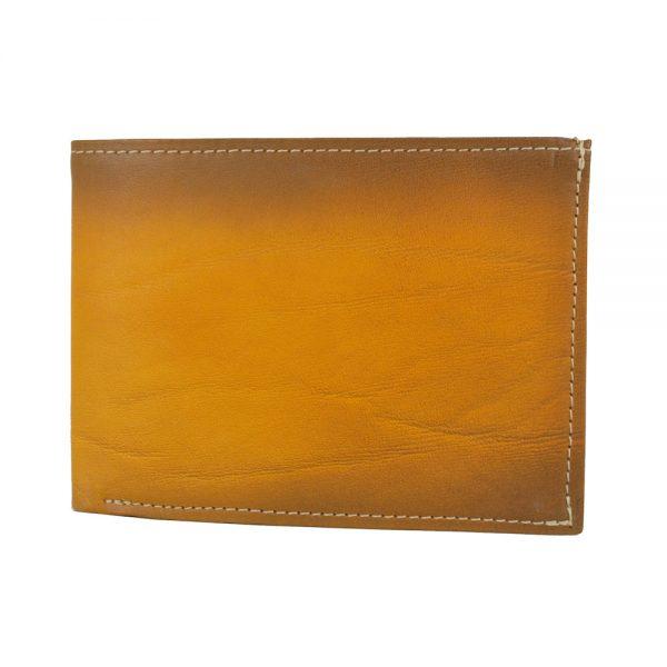 Pánska kožená peňaženka č.8552, ručne tieňovaná v žltej farbe