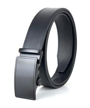 Pánsky kožený opasok s automatickou prackou BLACK PRESTIGE