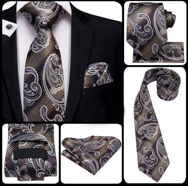 Kravatová sada s luxusným vzorom - kravata + manžetové gombíky + vreckovka