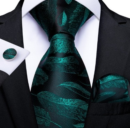 Kravatová sada so zelenými listami - kravata + manžetové gombíky + vreckovka
