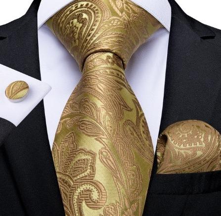 Kravatová sada so zlatým spracovaním - kravata + manžetové gombíky + vreckovka