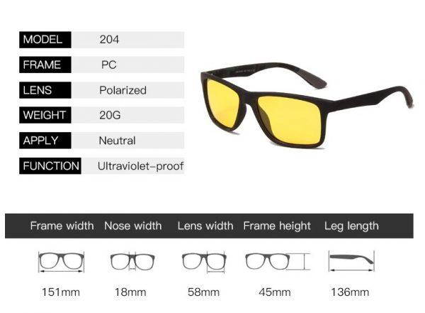 Kvalitné polarizované okuliare na šoférovanie s hranatým rámikom