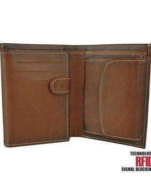 RFID kožená peňaženka v Cigaro farbe vybavená blokáciou RFID / NFC, č.8560