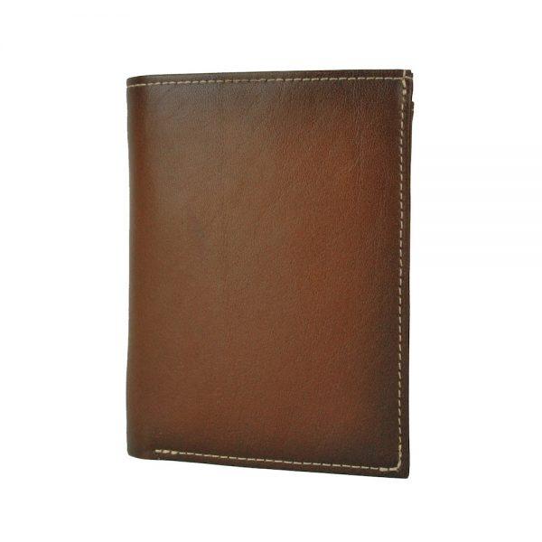 Pánska luxusná kožená peňaženka č.8560 ručne tieňovaná v Cigaro farbe