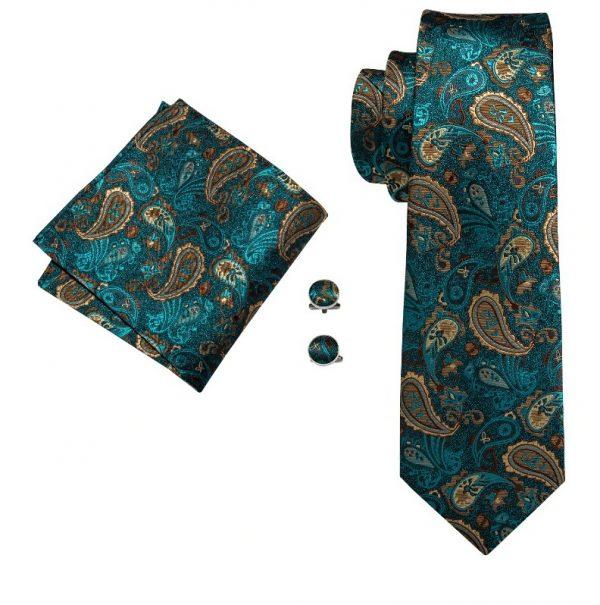 Luxusná pánska tyrkysová sada - kravata + manžetové gombíky + vreckovka