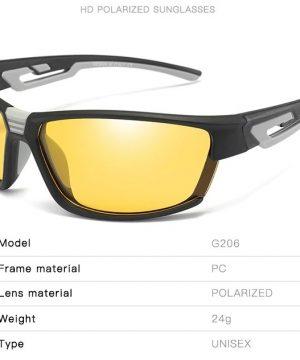 Športové polarizované okuliare na noc s rámom v dvoch farbách