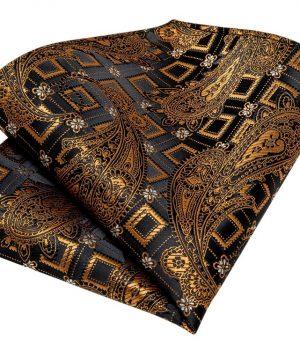 Zlato-medená pánska sada - kravata + manžetové gombíky + vreckovka