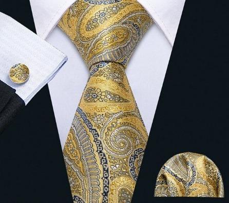 Kravatový set s luxusným vzorom - kravata + manžetové gombíky + vreckovka