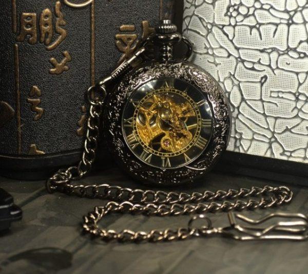 Luxusné samo-naťahovacie pánske vreckové hodinky so skeleton ciferníkom