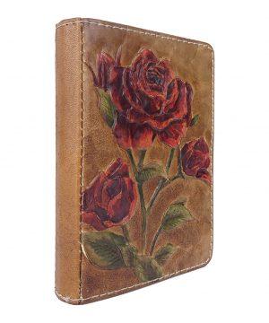 Ručne vyklepávaný, tvarovaný a reliéfny kožený diár - Červené ruže