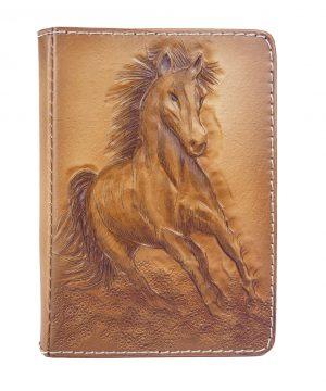 Ručne vyklepávaný, tvarovaný a reliéfny kožený diár - Cválajúci kôň
