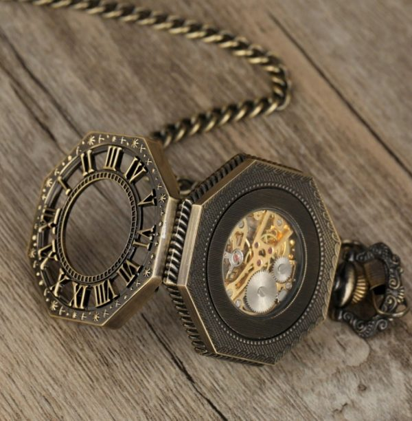 Samo-naťahovacie pánske vreckové hodinky v luxusnom antickom prevedení