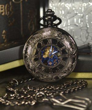 Štýlové samo-naťahovacie pánske vreckové hodinky s modrým ciferníkom