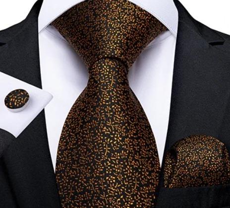 Viazanková sada s jemným vzorom - kravata + manžetové gombíky + vreckovka