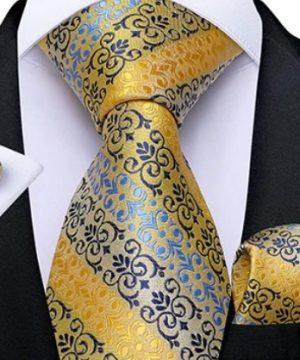 Viazanková sada s luxusným vzorom - kravata + manžetové gombíky + vreckovka
