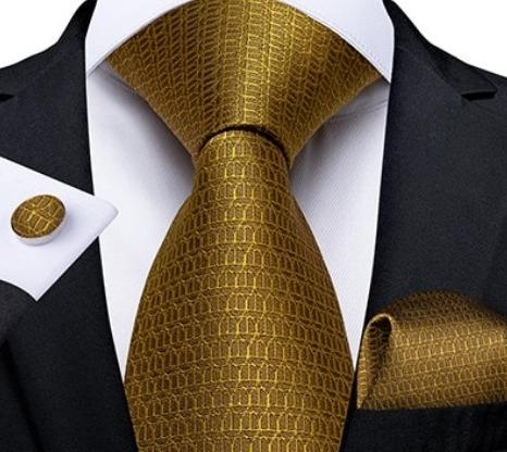 Zlatá sada s luxusným vzorom - kravata + manžetové gombíky + vreckovka