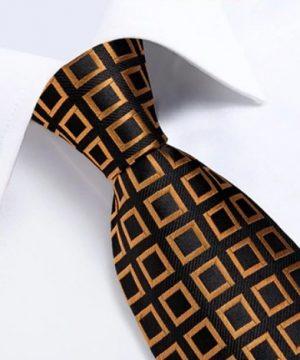 Zlato-medená sada so štvorčekovým vzorom - kravata + manžetové gombíky + vreckovka