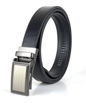 Pánsky kožený opasok s automatickou prackou BUSINESS_2, 3cm, čierna farba