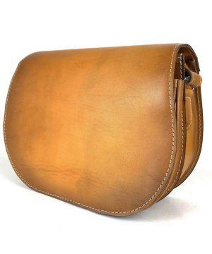Lovecká kožená taška ručne tieňovaná so skrytým magnetom, tmavo žltá farba