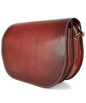 Lovecká kožená taška ručne tieňovaná so skrytým magnetom, bordová farba