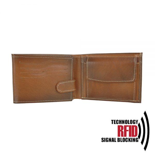 RFID kožená peňaženka vo svetlo hnedej farbe vybavená blokáciou RFID / NFC, č.8552