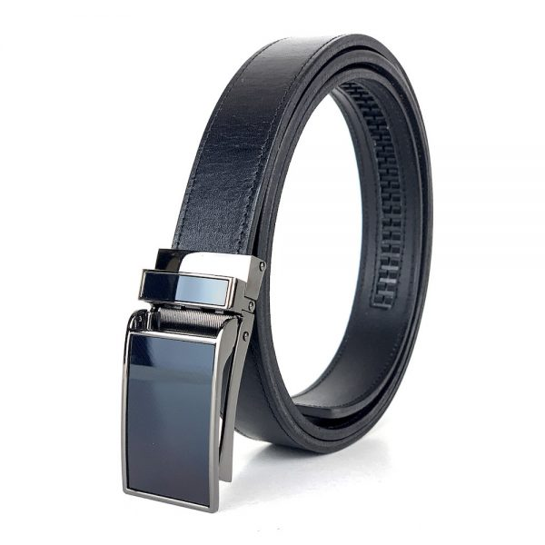 Pánsky kožený opasok s automatickou prackou GLOSSY BLACK, 3cm, čierna farba