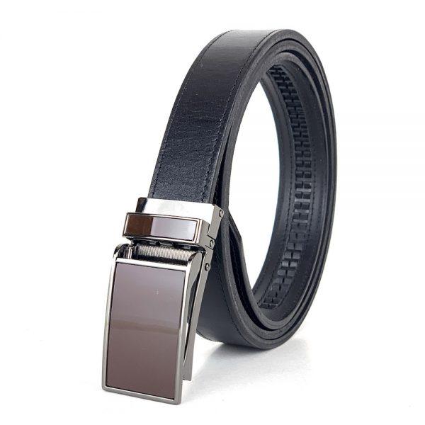 Pánsky kožený opasok s automatickou prackou GLOSSY BROWN, 3cm, čierna farba