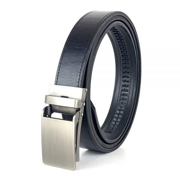 Pánsky kožený opasok s automatickou prackou NICKEL, 3cm, čierna farba