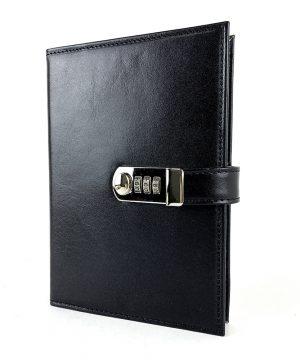 Kožený zápisník XXL s číselným zámkom v čiernej farbe,