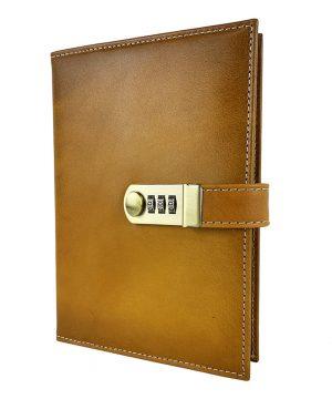 XXL kožený zápisník z prírodnej kože na heslový zámok, ručne tieňovaný, žltá farba